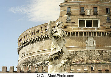 Wonderful detail of an angel statue with the wonderful Castle of the Holy Angel in Rome