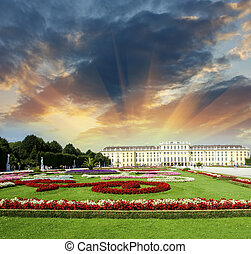 Wonderful gardens of Schonbrunn Castle in Vienna. Summer...