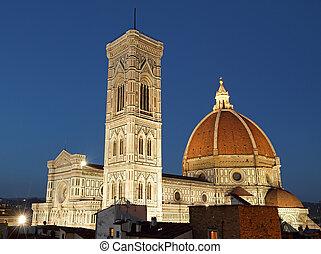 wonderful illuminated cathedral of Florence by night , Italy, Europe