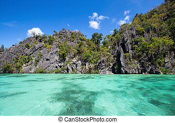 Wonderful lagoon in El Nido, Philippines . Rock and sea