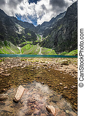 Wonderful lake in the mountains at summer