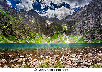 Wonderful lake in the Tatra Mountains at summer