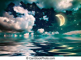 wonderful moonlight in ocean at night