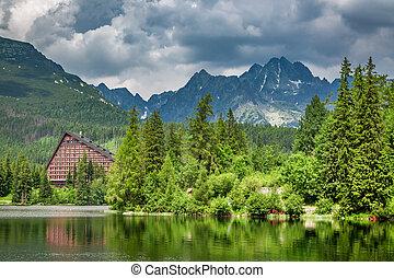 Wonderful mountain lake in Strbske Pleso in Slovakia