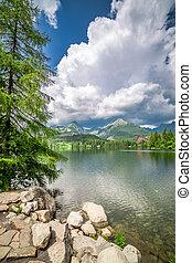 Wonderful mountain lake in Strbske Pleso in summer