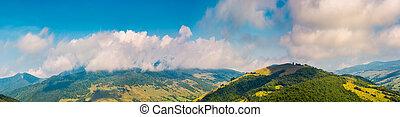 wonderful mountainous panorama in autumn. gorgeous...