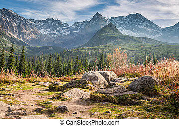 Wonderful path to the Tatras at sunset in autumn