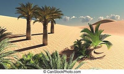 Wonderful point of view on Sahara desert at sunset 3d...
