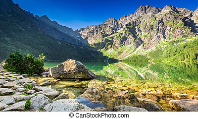 Wonderful pond in the mountains at sunrise in Poland