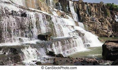 Wonderful Pongour waterfall, Vietnam - Track shot of...