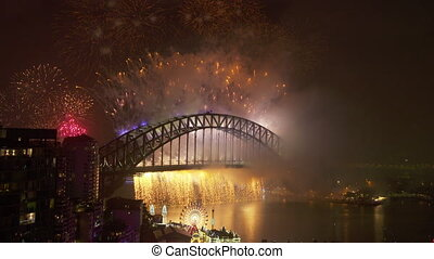 Wonderful pyrotechnics in Australia - A full shot of the...