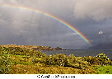Wonderful rainbow above the lake with the cloudy sky, Isle...