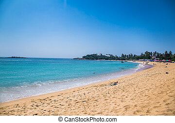 Wonderful sand beach of Unawatuna, Sri Lanka.