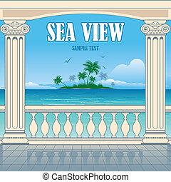 Wonderful sea view between roman columns. Vector background.