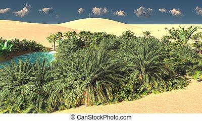 Wonderful sight on Sahara desert at sundown 3d rendering -...