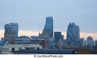Wonderful steady time lapse panorama modern architecture cloudy cityscape view on London downtown Tower Bridge