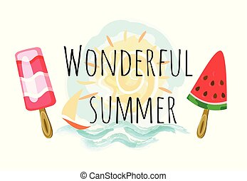 Wonderful Summer Poster with Two Ice Cream and Sun