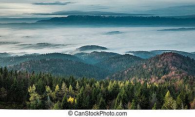 Wonderful sunrise in the Tatra Mountains in autumn