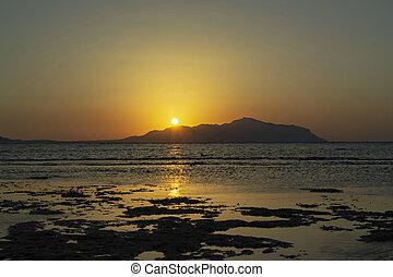 Wonderful sunrise over Red sea and Tiran island