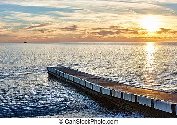 Wonderful sunset at the Sochi of Black sea.