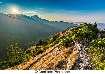Wonderful sunset in Tatra mountains from the ridge in Poland