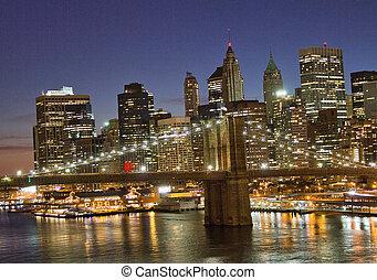 Wonderful sunset view of Manhattan skyline, New York City