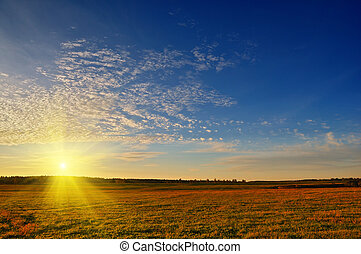 Wonderful sunshine - Rural landscape with beautiful sunset ...