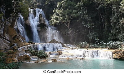 Wonderful Tad Kuang Si Waterfall in Laos FULL HD