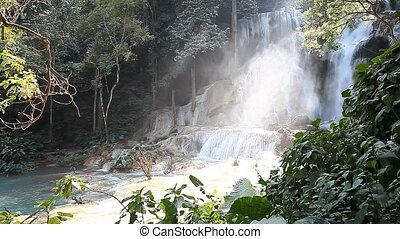 Wonderful Tad Kuang Si Waterfall in Laos FULL HD