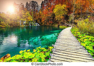 Wonderful tourist pathway in colorful autumn forest, Plitvice lakes, Croatia