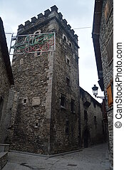 Wonderful Tower Of The Infanzones In Benasque. Travel, Landscapes, Nature, Architecture. December 27, 2014. Benasque, Huesca, Aragon.