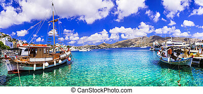 Wonderful traditional Greece - beautiful Leros island in Dodecanese, Agia Marina fishing village and port