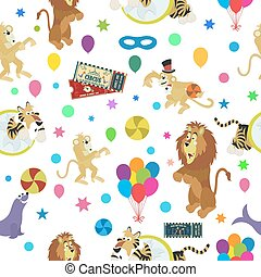 Wonderful vector seamless pattern of circus and funny animals.