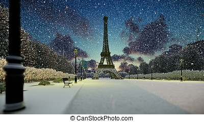 Wonderful view Eiffel Tower in Paris at sunset, snowing,...