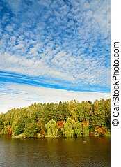 Wonderful view of autumnal lake.