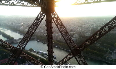 Paris from moving Eiffel Tower lift