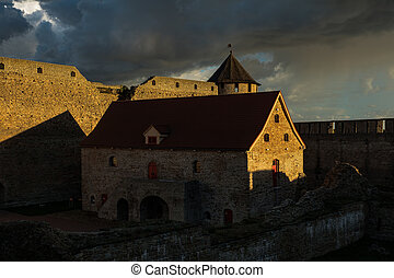 Wonderful view of the fortress in Ivangorod at sunset