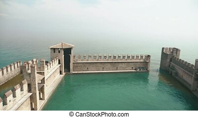 Wonderful view of the part of Scaliger castle of Sirmione, Lake Lago Di Garda, Italy