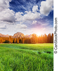 Wonderful view to mountains in the national park Durmitor in...