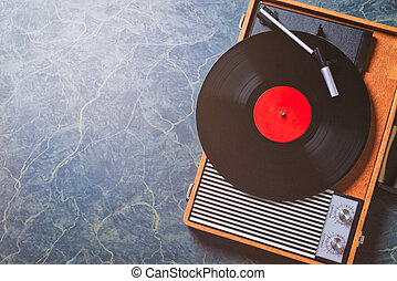 wonderful vintage Gramophone with a vinyl record