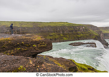 Wonderful waterfall Gullfoss in Iceland, summer time