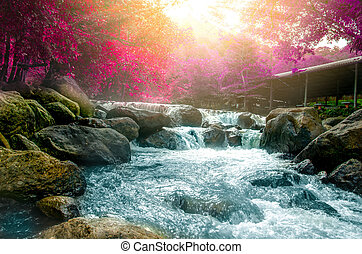 Wonderful Waterfall with rainbows in deep forest at national park, Thailand.