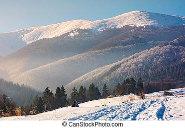 wonderful winter landscape in mountains. beautiful...