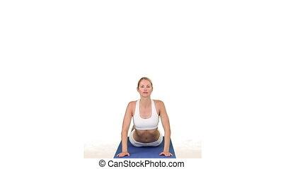 Wonderful woman doing exercise