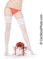 wonderfull, 여성, 다리, 에서, 백색, 스타킹, 위의, 크리스마스 선물