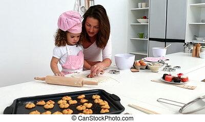 wonderfull, fille, cuisson, elle, mère