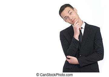 wondering businessman