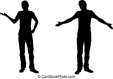 Wondering men silhouettes isolated on white