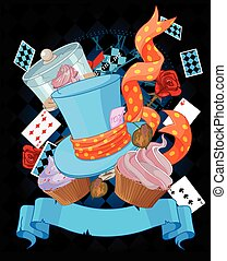 Wonderland cupcake background - Wonderland top hat and...