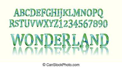 Wonderland font. Fairy ABC. Set of letters. Magical beast...
